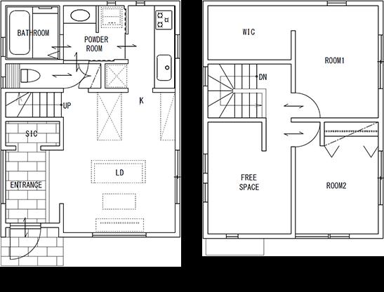 コンパクトサイズな68A。お二人暮らしはもちろん、セカンドハウスにもどうぞ